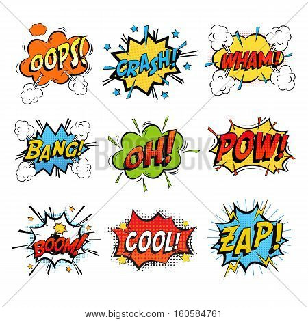 Set of bubble or bubbles speech. Crash and smash bubble and wham speech, onomatopoeia comic dialogue for bomb bang. For comic book humour speech expression, word or text bubble