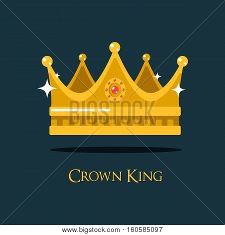 Medieval queen crown or king headdress. Princess or prince tiara royalty or luxury sign, icon of monarch or vintage coronet, old crest or retro diadem. Shiny heraldic crown icon for game award