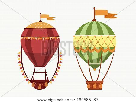 Hot air floating balloons icons isolated. Vintage transportation by sky, cartoon air striped balloon icon for sport entertainment, air journey or travel, outdoor tourism, cartoon balloon with flag