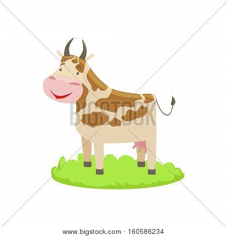Cow Farm Animal Cartoon Farm Related Element On Patch Of Green Grass. Colorful Vector Illustration With Farming And Rancho Associated Isolated Object.