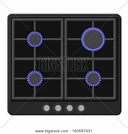 Surface of Black Gas Hob Stove with Fire On. Vector illustration