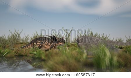 3d illustration of the walking einiosaurus