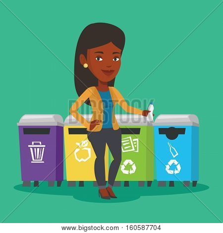 An african woman throwing away garbage. Woman standing near four bins and throwing away garbage in an appropriate bin. Concept of garbage separation. Vector flat design illustration. Square layout.