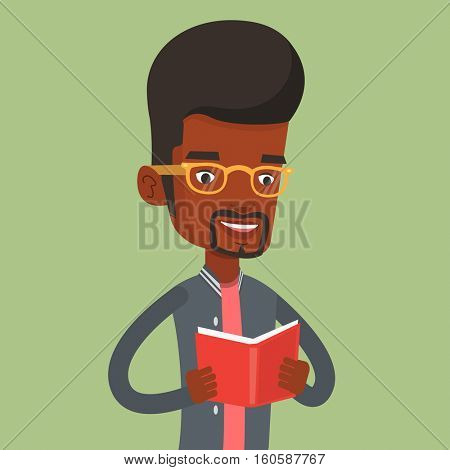 African-american student reading a book. Cheerful student reading a book and preparing for exam. Student holding a book in hands. Concept of education. Vector flat design illustration. Square layout.
