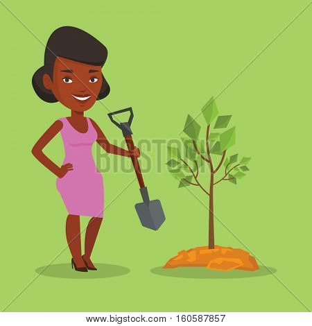 An african-american woman plants a tree. Woman standing with shovel near newly planted tree. Young woman gardening. Environmental protection concept. Vector flat design illustration. Square layout.