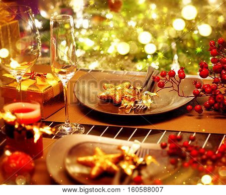 Christmas And New Year Holiday Table Setting. Celebration. Place setting for Xmas Dinner. Holiday Decorations. Decor. Served Table