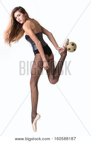 Pretty Ballerina Girl With Football Ball