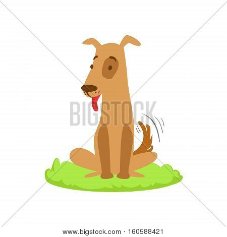 Dog Pet Animal Cartoon Farm Related Element On Patch Of Green Grass. Colorful Vector Illustration With Farming And Rancho Associated Isolated Object.