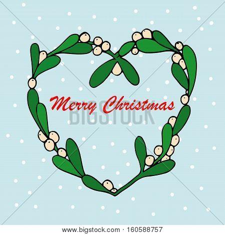 Mistletoe. Hand drawn vector illustration of mistletoe sprigs for Christmas cards and decorative design