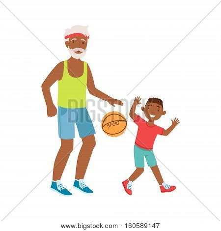Grandfather And Grandson Playing Basketball, Part Of Grandparent And Grandchild Passing Time Together Set Of Illustrations. Good Relationship Between Generations Of Family Cartoon Vector Drawing.