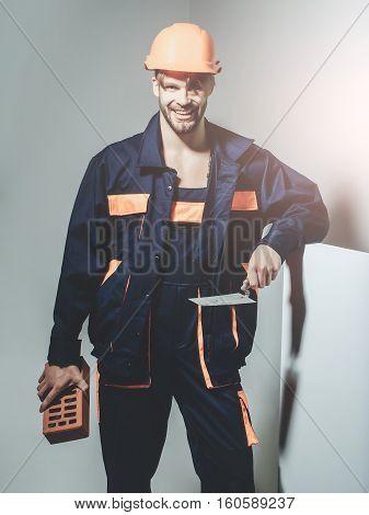 Happy Man Smiling Builder