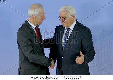 Hamburg Germany. December 8th 2016: Minister Dr Frank-Walter Steinmeier welcomes Stephane Dion Minister of Foreign Affairs of Canada at the 23rd OSCE Ministerial Council in Hamburg