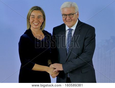 Hamburg Germany. December 8th 2016: Minister Dr Frank-Walter Steinmeier welcomes Federica Mogherini High representative of the EU at the 23rd OSCE Ministerial Council in Hamburg