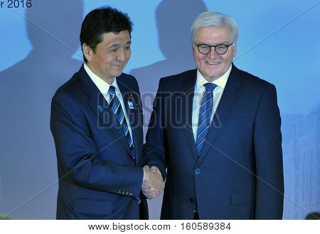 Hamburg Germany. December 8th 2016: Minister Dr Frank-Walter Steinmeier welcomes Nobuo Kishi Minister of Foreign Affairs of Japan at the 23rd OSCE Ministerial Council in Hamburg