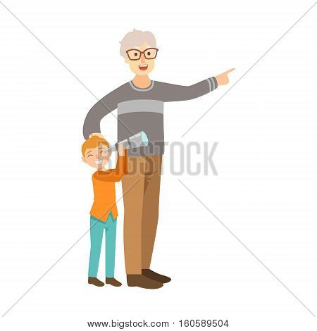 Grandfather And Grandson Looking Through Telescope, Part Of Grandparent And Grandchild Passing Time Together Set Of Illustrations. Good Relationship Between Generations Of Family Cartoon Vector Drawing.