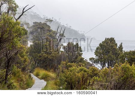 Rain is pouring down on the boardwalk of Dove Lake Circuit in Cradle Mountain NP, Tasmania