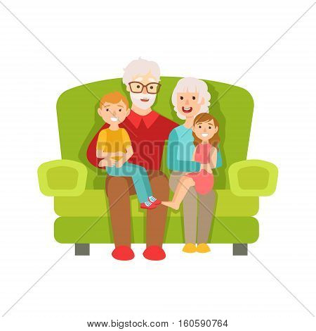 Grandparents And Grandchildren Sitting On The Sofa, Part Of Grandparent And Grandchild Passing Time Together Set Of Illustrations. Good Relationship Between Generations Of Family Cartoon Vector Drawing.
