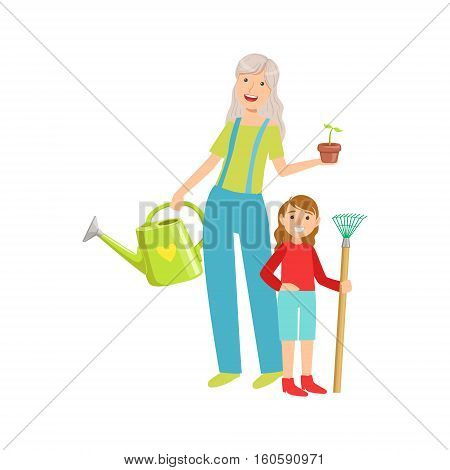 Grandmother And Granddaughter Gardening, Part Of Grandparent And Grandchild Passing Time Together Set Of Illustrations. Good Relationship Between Generations Of Family Cartoon Vector Drawing.