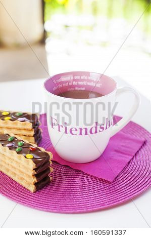 Cup of hot chocolate with funny chocolate cookies on a pink placement with a pink napkin. A friendship quote painted on the cup. Natural light. On white table in tne garden.