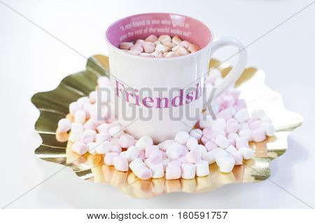 A cup of hot chocolate with mini sweet marshmallows on a gold placement. A friendship quote painted on the cup. Natural light. Isolated on white.