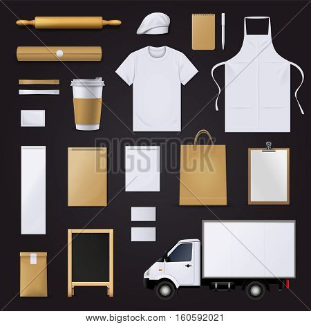 Bakery pastry shop visual corporate identity blank template items collection with dough roll pin black background vector illustration