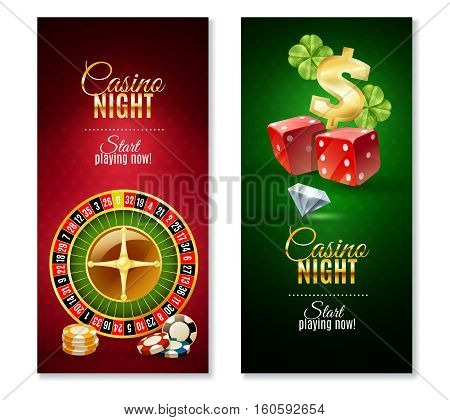 Casino night party games 2 colorful vertical bookmarks banners with roulette wheel  and luck symbol isolated vector illustration