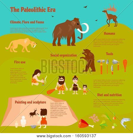 Stone age flat infographics with tribe caveman ancient animals weapon activities and food vector illustration