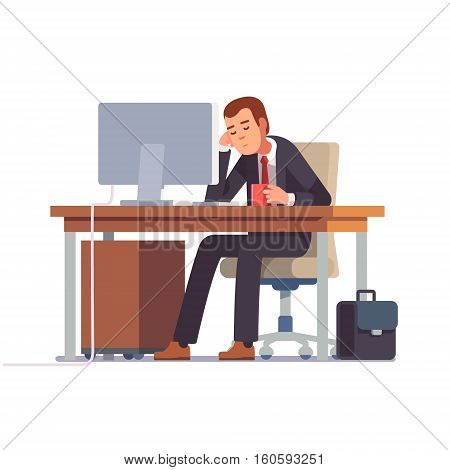 Tired businessman sleeping at his office desk with a cup of coffee. Flat style modern vector illustration.