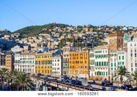 GENOA Italy - November 11 2016 - Cityscape of Genoa the capital of Liguria in Italy