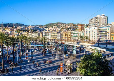 GENOA Italy - November 11 2016 - Cityscape of Genoa the capital of Liguria in Italy