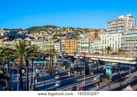 GENOA Italy - November 11 2016 - Cityscape of Genoa the capital of Liguria in Italy view from the port