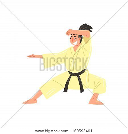Karate Professional Fighter In Kimono With Black Belt Doing Classic Stance Cool Cartoon Character. Martial Arts Sportsman With Ponytail Demonstrating Classic Kick Technique Vector Illustration.