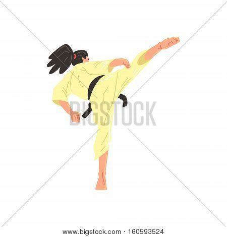 Karate Professional Fighter In Kimono With Black Doing Leg Sidekick Belt Cool Cartoon Character. Martial Arts Sportsman With Ponytail Demonstrating Classic Kick Technique Vector Illustration.