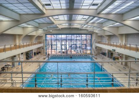 BRUSSELS, BELGIUM - 20/04/2015: The inside of the public swimming pool