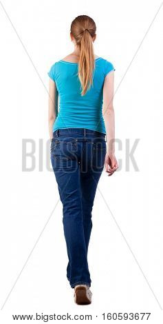 back view of walking  woman  in   jeans and shirt. beautiful blonde girl in motion.  backside view of person. Isolated over white background. purposeful gait of a long-haired blonde teen walks right