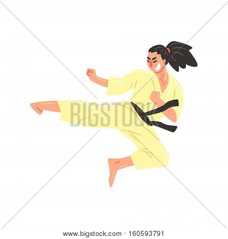 Karate Professional Fighter In Kimono With Black Belt Kicking While Jumping Cool Cartoon Character. Martial Arts Sportsman With Ponytail Demonstrating Classic Kick Technique Vector Illustration.