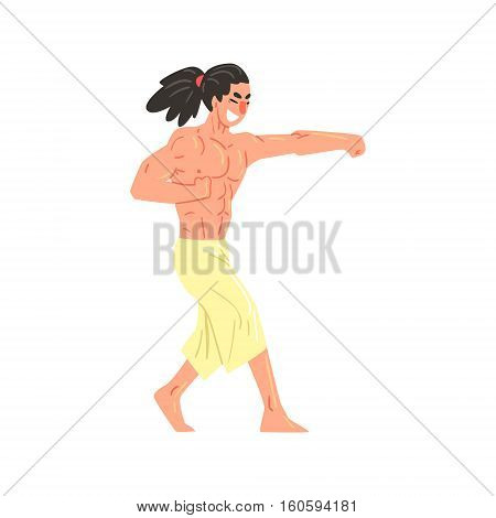 Muscly Shirtless Karate Professional Fighter Kicking With Fist Cool Cartoon Character. Martial Arts Sportsman With Ponytail Demonstrating Classic Kick Technique Vector Illustration.