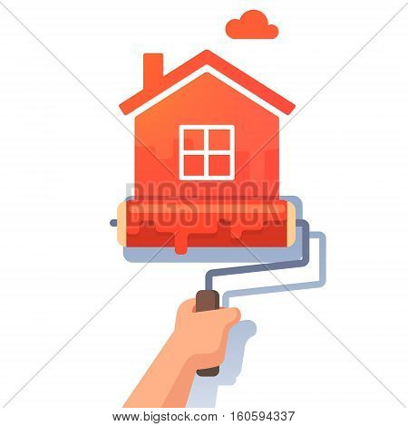 New house symbol metaphor. Roller paint painting home shape. Flat style modern vector illustration.