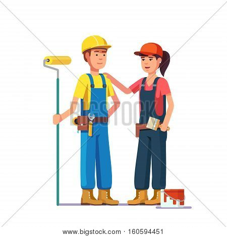 Professional painters. Craftsman workers in uniform. Flat style modern vector illustration.