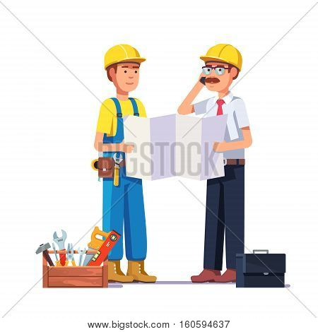 Carpenter talking with foreman or architect. Discussing work plan or blueprint. Flat style modern vector illustration.