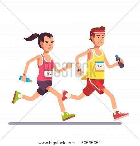Fit couple running a marathon together. Flat style modern vector illustration.