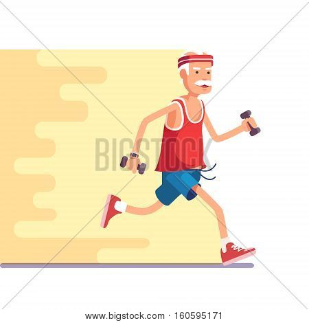 Fit elderly man jogging with dumbbells in hands. Flat style modern vector illustration.