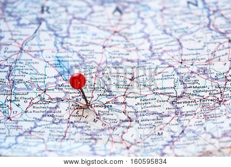 Limoges France pinned on the route map