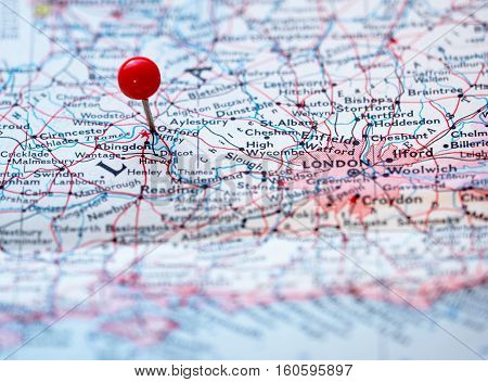Oxford England pinned on the route map