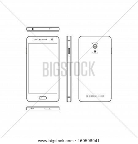 Outline smartphone on a white background. Phone in different views: in front side front back. Touch telephone with the camera. Vector illustration