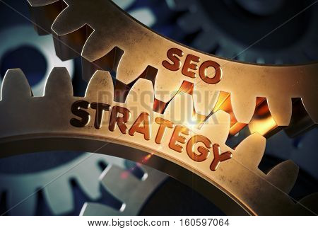 SEO Strategy on the Mechanism of Golden Metallic Cogwheels with Glow Effect. SEO Strategy - Concept. 3D Rendering.