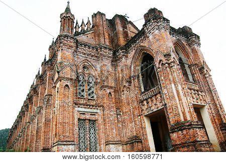 Close up of ancient brick church of Dan Vien Chau Son in Ninh Binh, Vietnam.