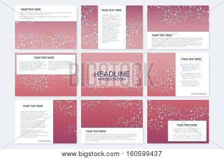 Big set of vector templates for presentation slides. Modern graphic background structure molecule and communication. Scientific pattern atom DNA. Medical, science, chemistry design..