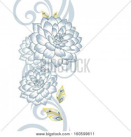 Seamless abstract hand drawn floral pattern with dahlias flowers.