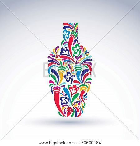 Flower-patterned bottle alcohol and relaxation concept. Stylized flowery glassware. Graphic abstract vector design object holiday idea.